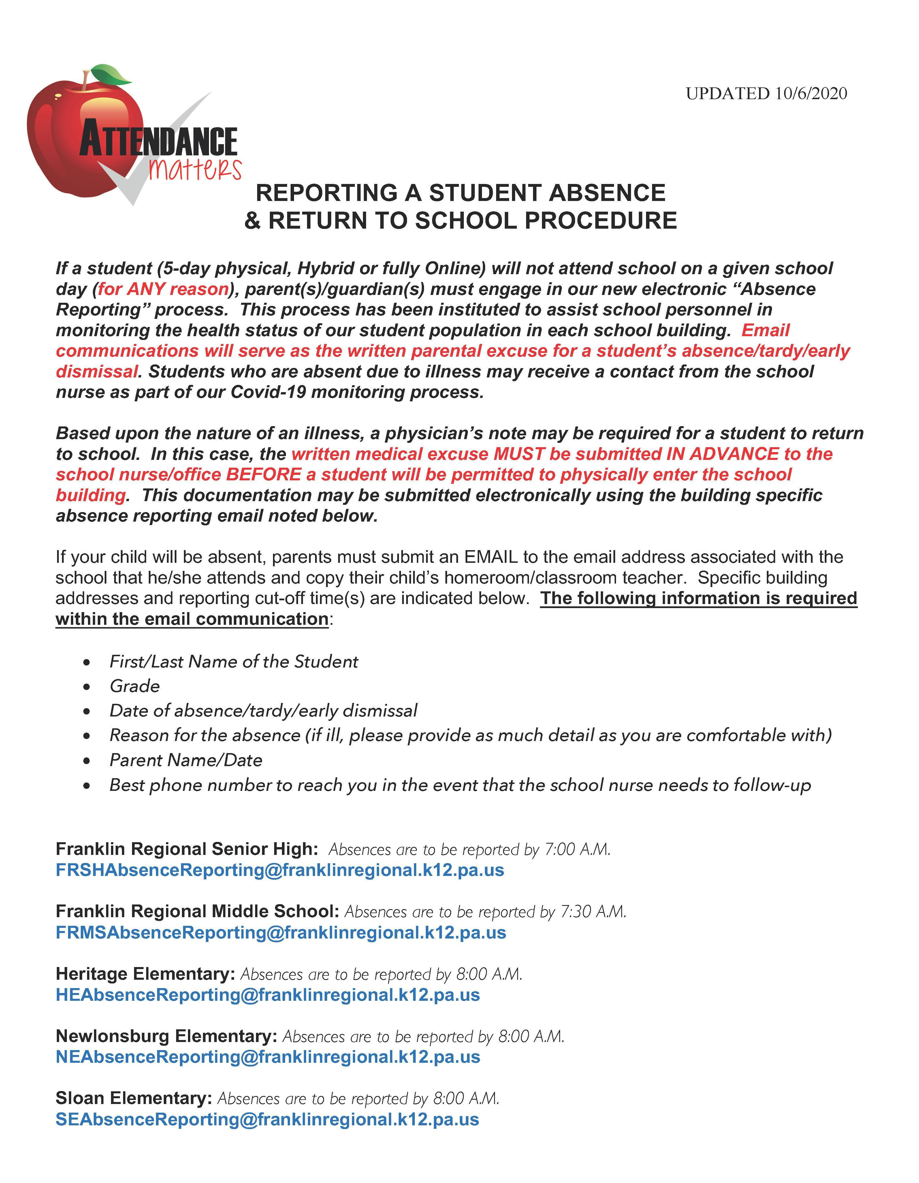 K-12 Absence Reporting Process