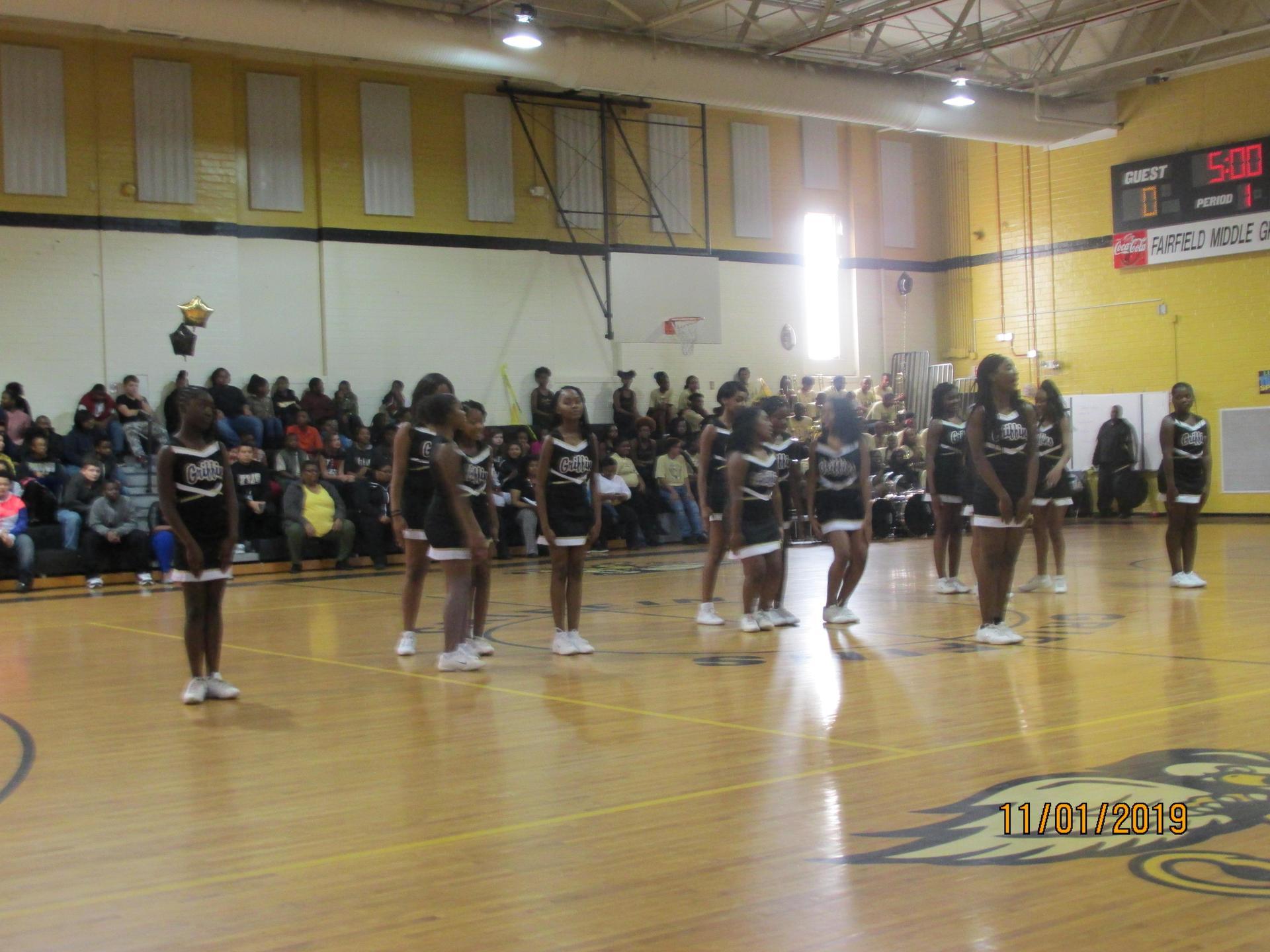 Cheerleaders perform at Pep Rally