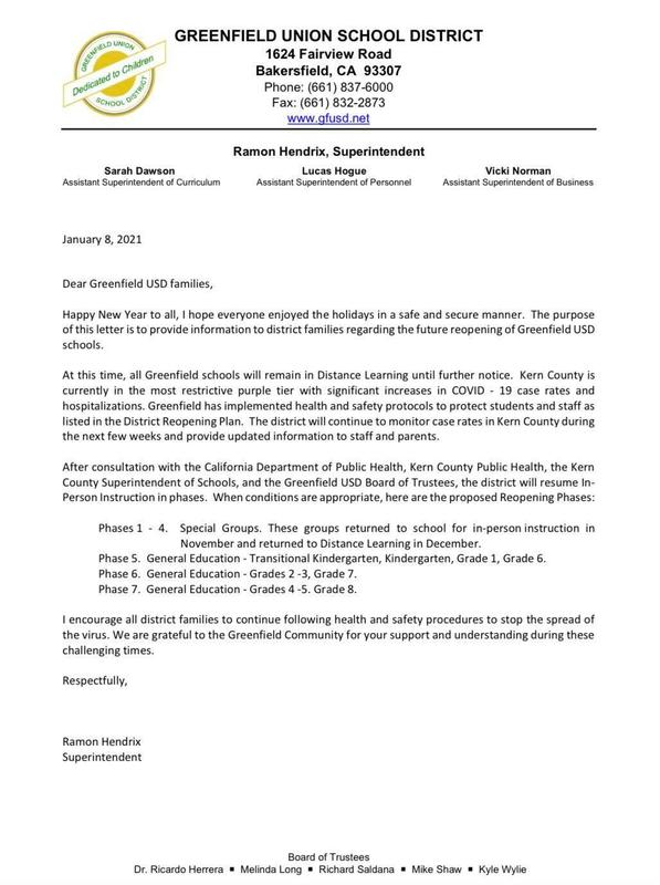 📢Letter from the Superintendent📢 (English & Spanish version) Thumbnail Image