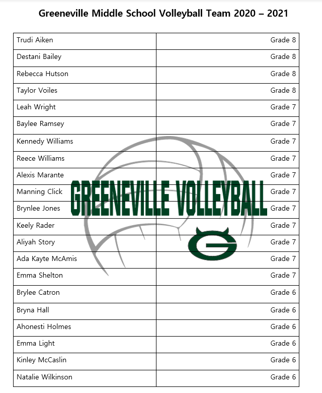 2020-2021 GMS Volleyball