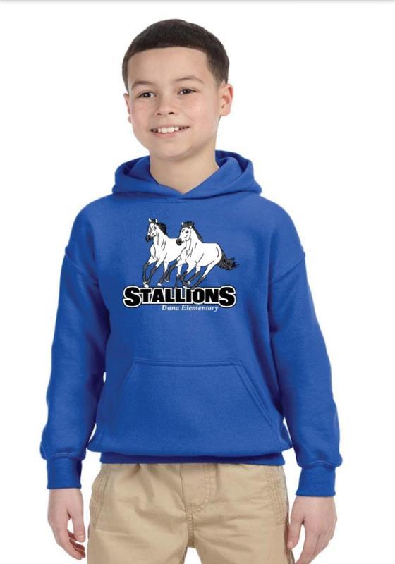 child wearing blue Dana sweatshirt