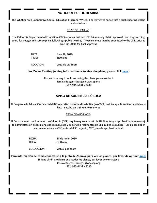 WACSEP Public Hearing Notice