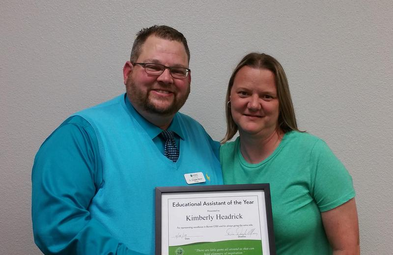 A well deserved congratulations goes to Kimberly Headrick for our Educational  Assistant of the Year! Thumbnail Image