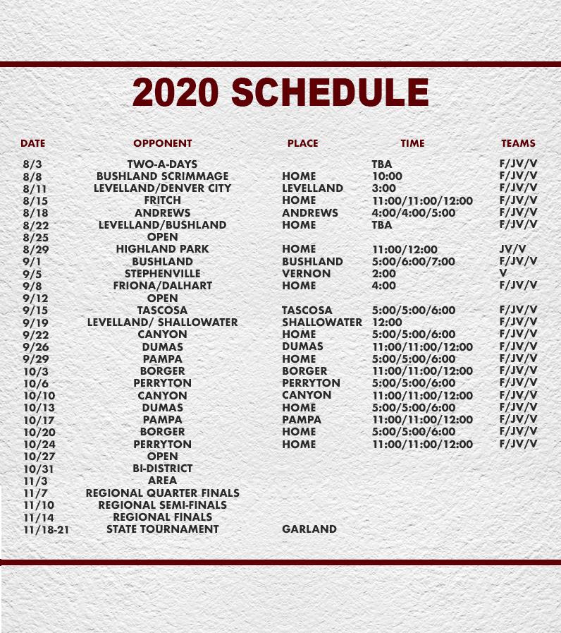 Hereford Volleyball Schedule