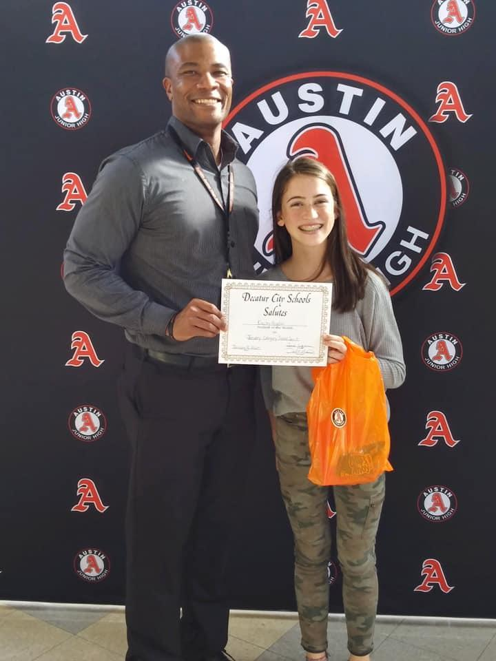Congratulations to Kinsley Higdon our student of the month for school spirit.
