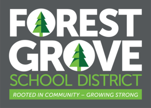 Forest Grove School district logo on a gray background with trees in the
