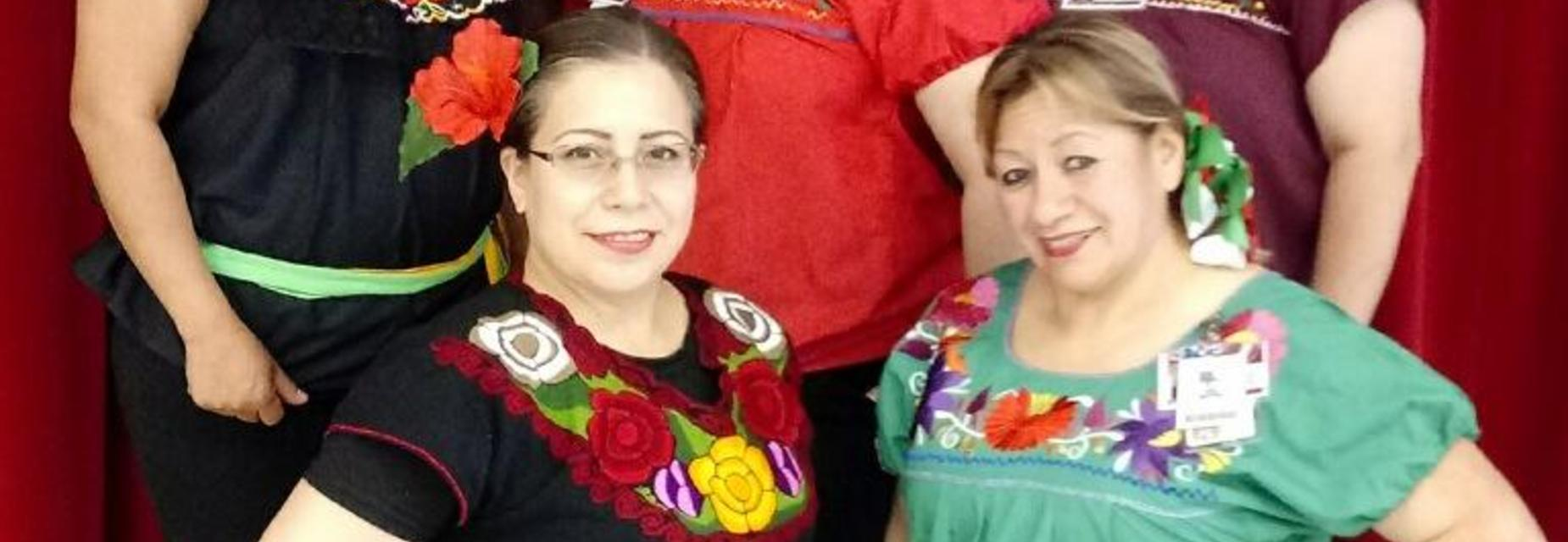 Cafeteria staff dressed up for 5 de mayo