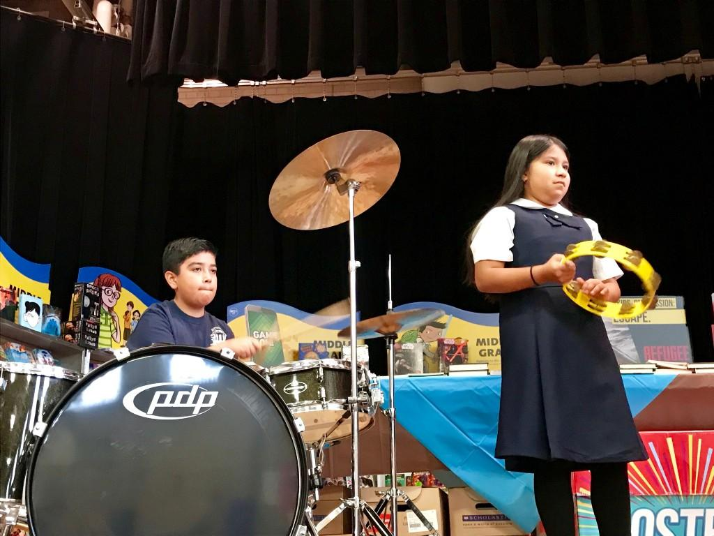 Student on drums