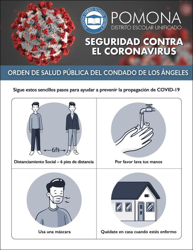 COVID-19 Safety Update - Los Angeles County Public Health Order - Follow these easy steps to help prevent the spread of COVID-19 https://proudtobe.pusd.org/apps/pages/covid19safetyupdates