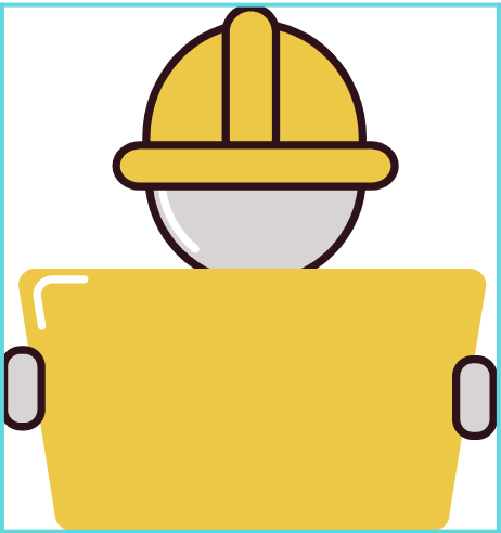 construction worker icon with clipboard in yellow