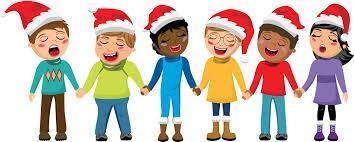Children wear Santa hats and sing
