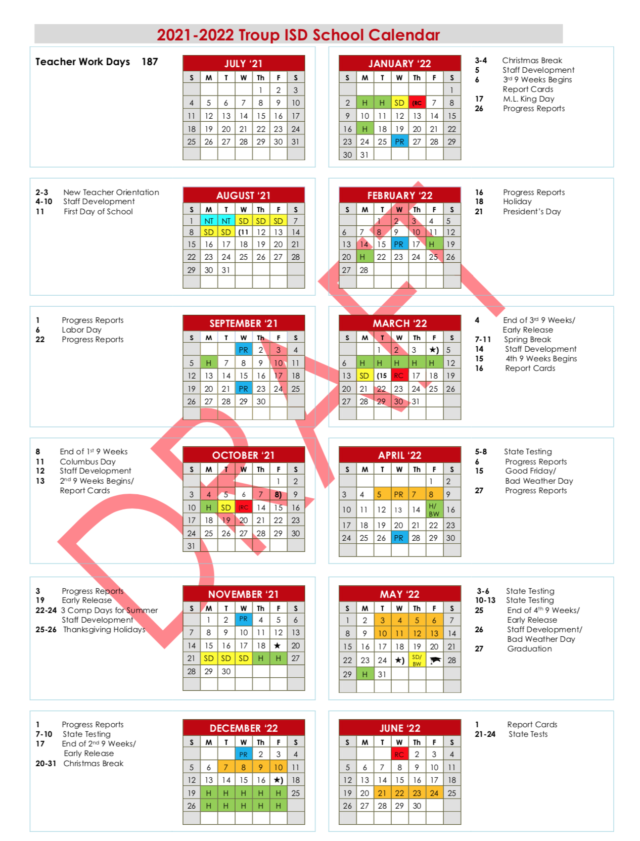 Troup County School System Calendar 2021-2022 Pictures