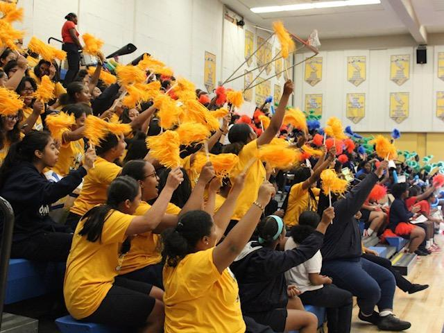 the student body cheering with pom poms in the gym during a sports rally