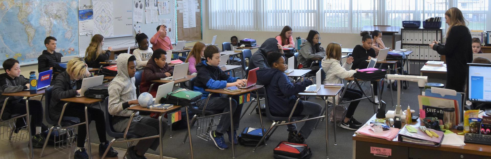 A junior high classroom