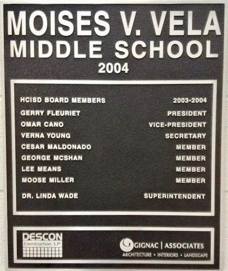 Plaque commemorating the opening of Vela Middle School in 2004