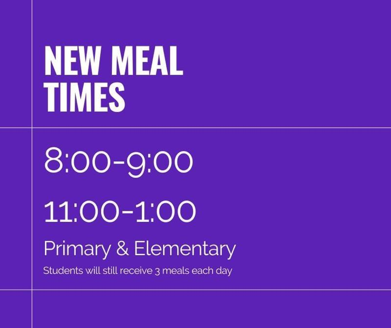 New scheduled district meal times Featured Photo