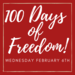 100 Days of Freedom to Learn; 100th day of school, Wednesday February 6th.
