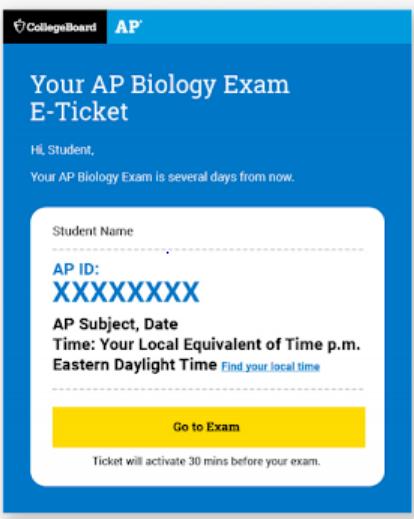 AP Exam Ticket Example