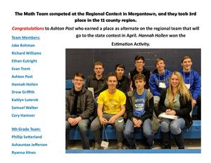 BUHS Math Team took 3rd place at the regional contest.