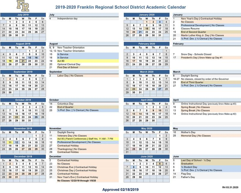 Revised District Calendar for 2020 Featured Photo