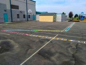 Brightly painted number lines at Snake River Elementary.