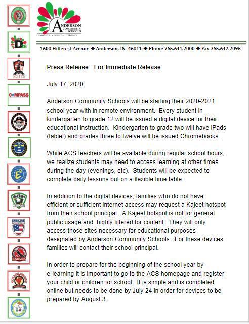 Press Release on July 17, 2020 Regarding Virtual School