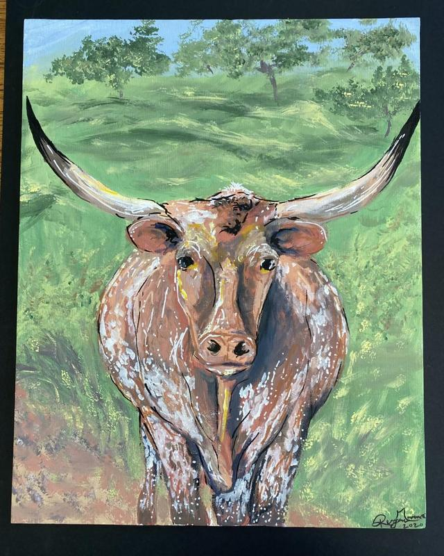 Western Art Show Longhorn painting
