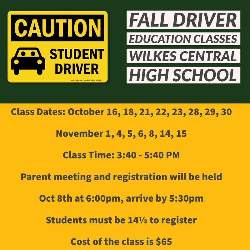 Fall Driver Education Classes Thumbnail Image