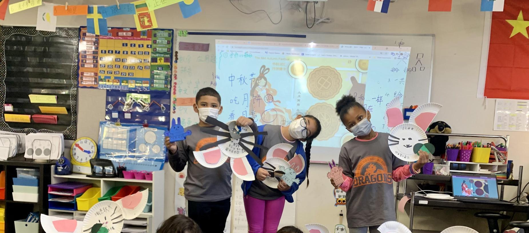 kids in costume for Mid-Autumn Festival (Moon Cake Festival)