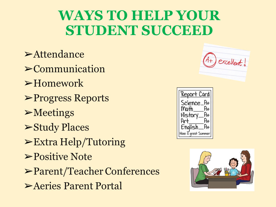 Ways to help your student succeed power point slide