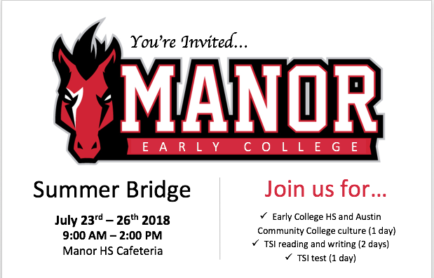 Information about the Manor Early College High School Summer Bridge Program Thumbnail Image