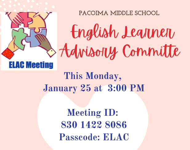 ELAC Meeting on Monday, January 25th at 3:00 p.m. Featured Photo