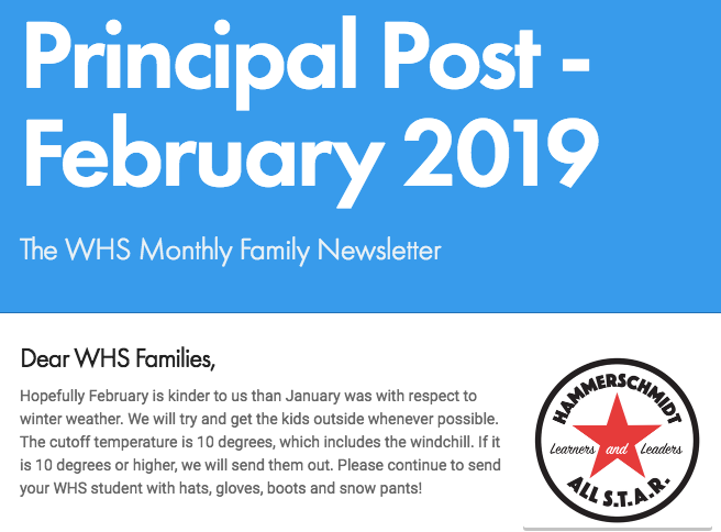 WHS February 2019 - Principal Post Newsletter Thumbnail Image