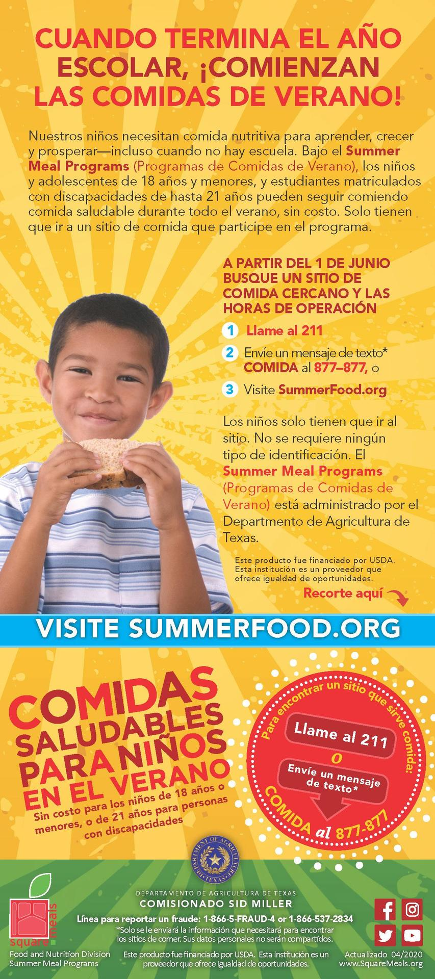 Summer Meal Program Information _Spanish