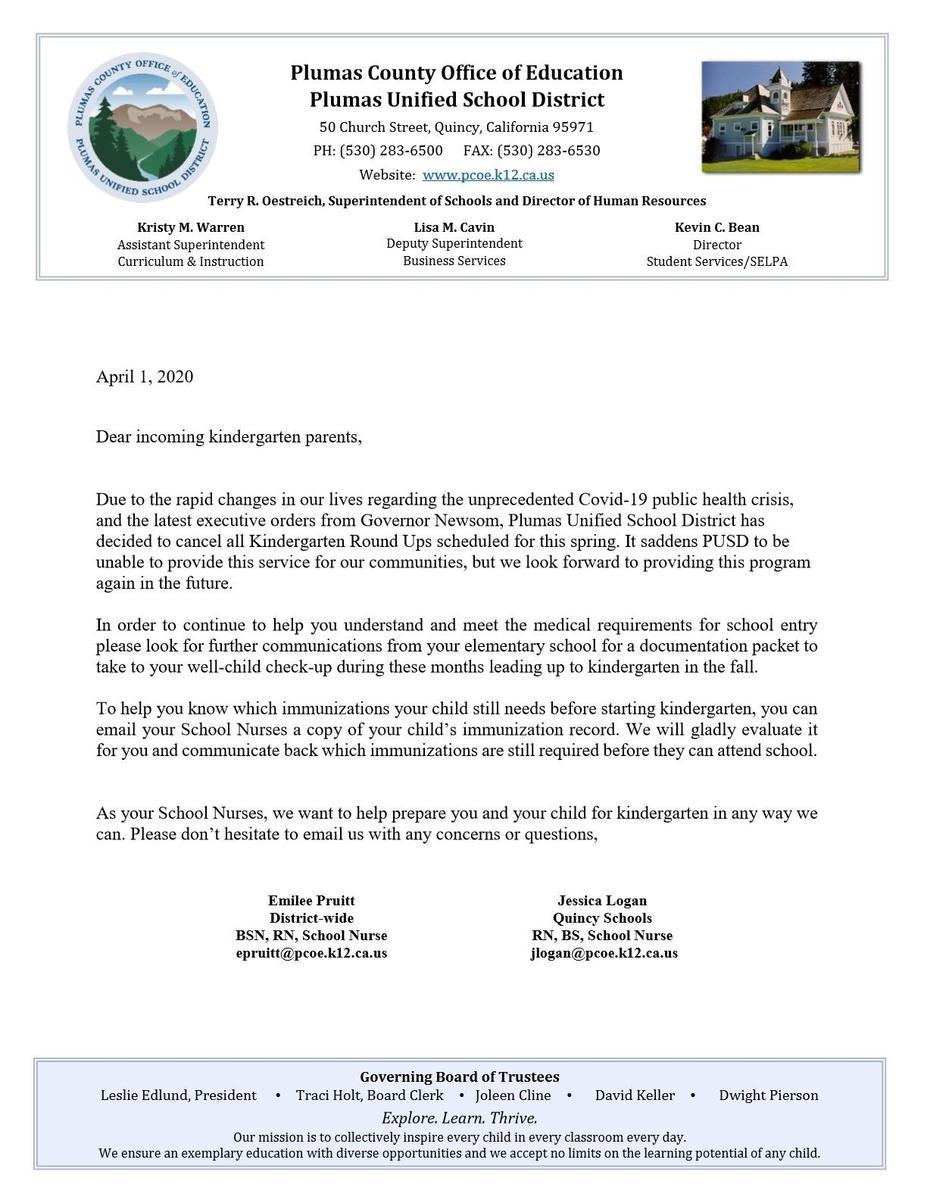 Kindergarten Roundup Cancelation notice