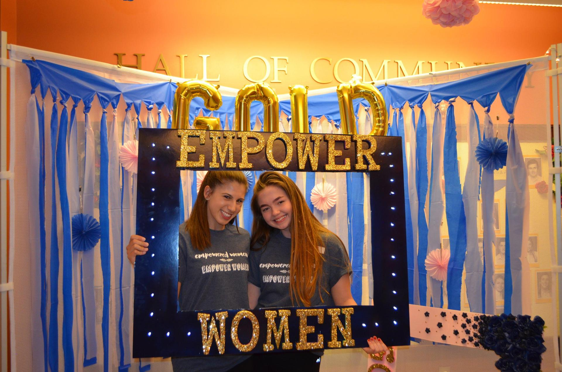 Francesca at last year's GOLD (Girls Overnight Leadership Development) event, posing with Anna.