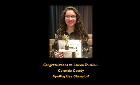 Lauren Trimble Columbia County Spelling Bee Champion