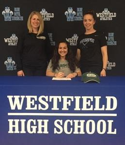 Westfield High School senior Hannah Jepsen signs Letter of Intent to play field hockey at Babson College next fall.  Pictured here with coaches Ashley Westra and Caitlin Cheddar.