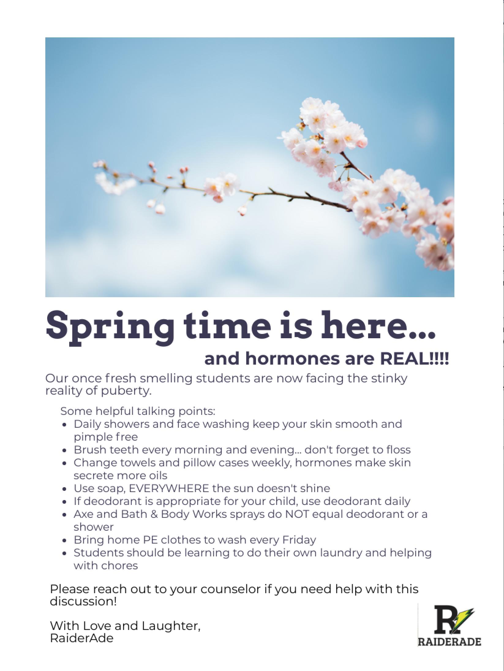 Spring Time Parent Letter
