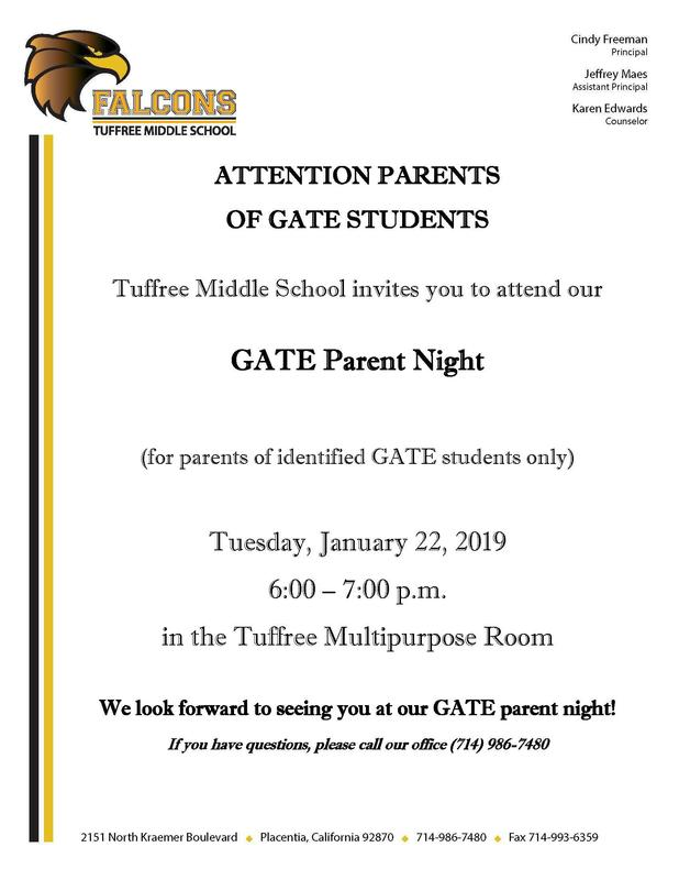 Photo of GATE Parent Night flyer.