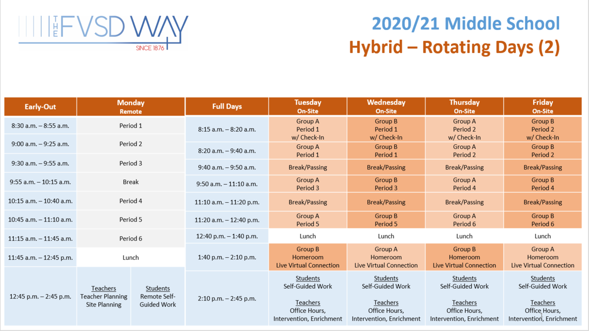 Middle School Hybrid Schedule