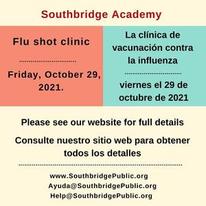 Information about the Southbridge Academy flu shot clinic. All information is also in the body of the post.
