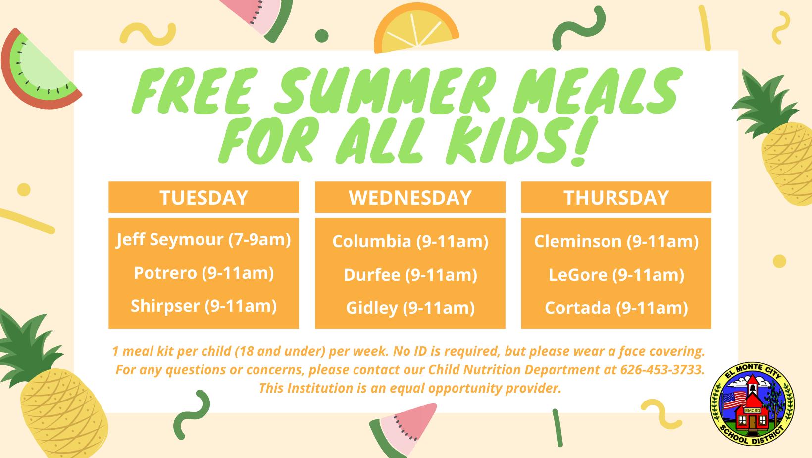 Free Meals for All Kids are available for pick up weekly Tuesdays (Jeff Seymour 7-9am, Potrero 9-11am, Shirpser 9-11am), Wednesdays (Columbia 9-11am, Durfee 9-11am, Gidley 9-11am), Thursdays (Cleminson 9-11am, LeGore 9-11am, Cortada 9-11am)