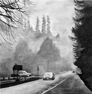 charcoal drawing of rural road with cars