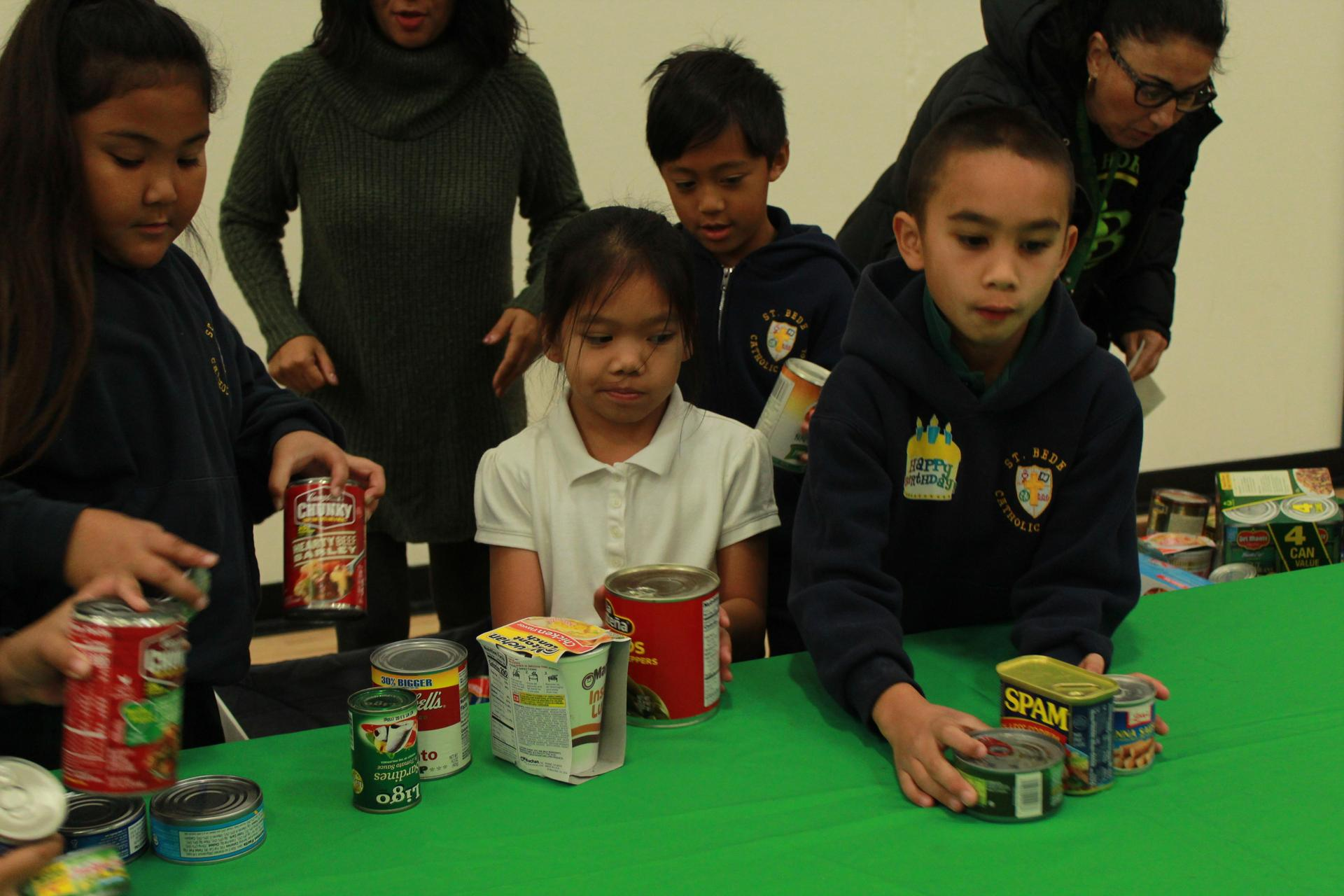 Giving to the food drive.