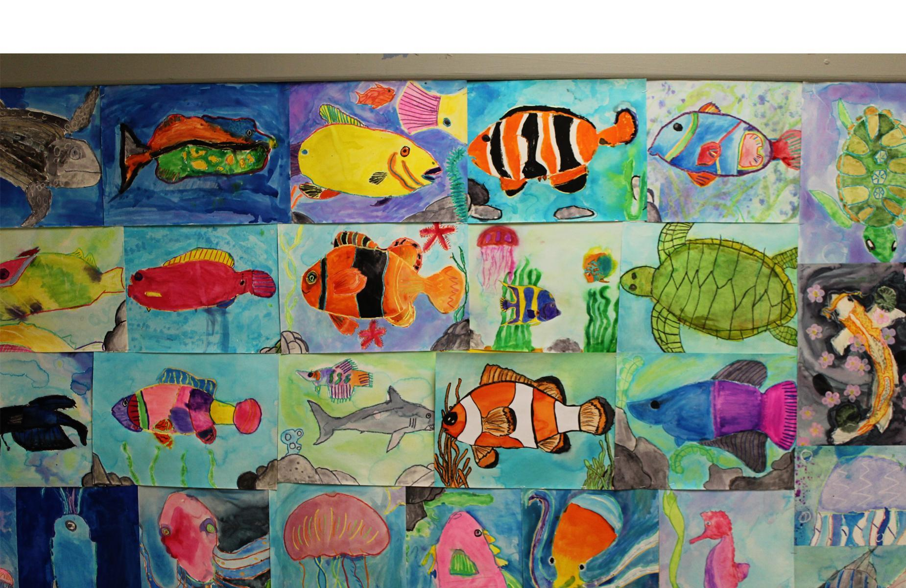Collage of fish paintings