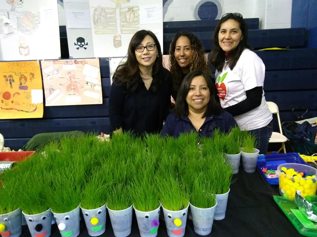 grass in a cup table with Jefferson staff