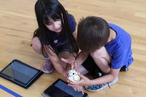 Student programming Little Robots
