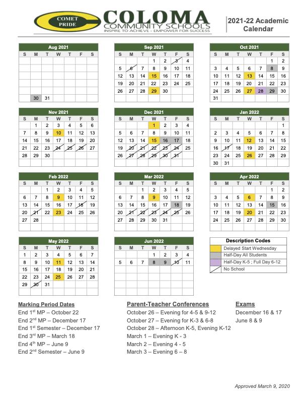 CCS 2021-2022 School Year Calendar