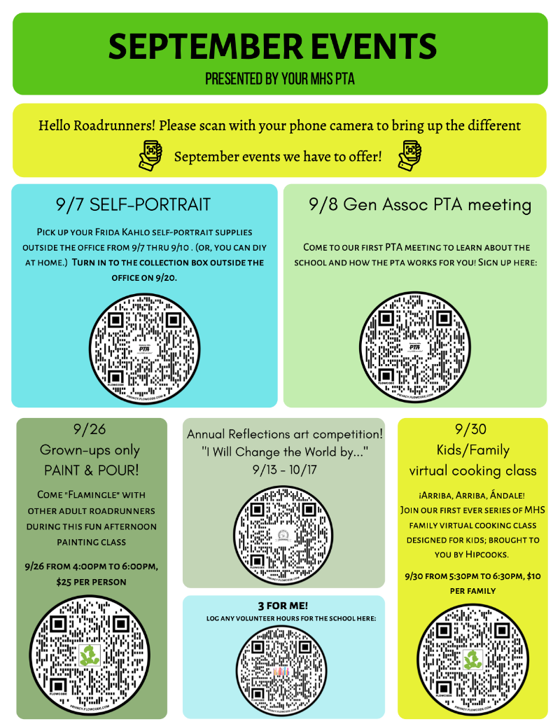 September Events - PTA Sponsored Events Featured Photo